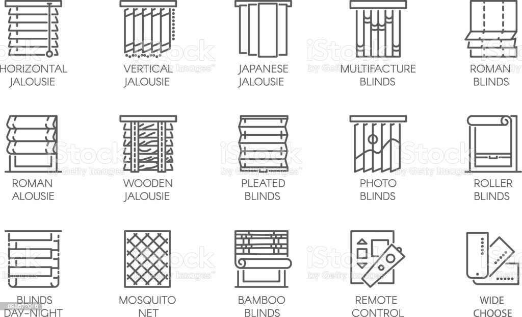 https://media.istockphoto.com/vectors/line-icons-of-various-designs-of-curtains-blinds-jalousie-mosquito-vector-id698672046