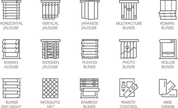 15 line icons of various designs of curtains, blinds, jalousie, mosquito nets and remote control. vector labels isolated - жалюзийный тип stock illustrations