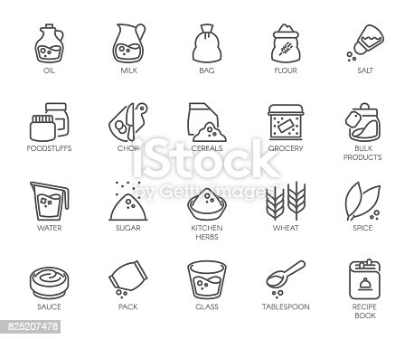 istock 20 line icons on cookery theme. Outline icon isolated on white background. Editable Stroke. 48x48 Pixel Perfect 825207478