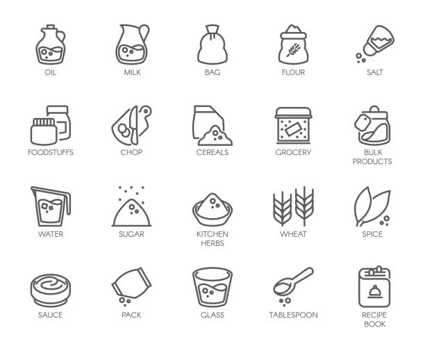20 line icons on cookery theme. Outline icon isolated on white background. Editable Stroke. 48x48 Pixel Perfect 20 line icons on cookery theme. Ingredients for cooking and kitchen accessories. Outline icon isolated on white background. Editable Stroke. 48x48 Pixel Perfect salt stock illustrations