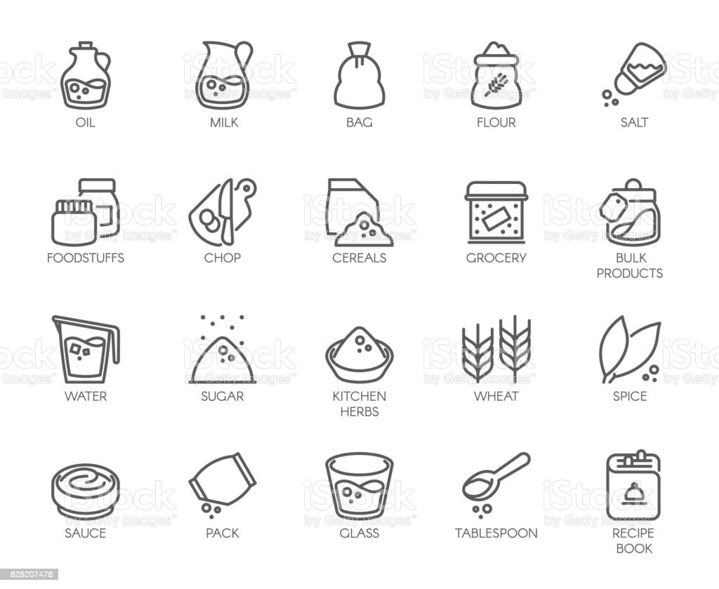 20 line icons on cookery theme. Outline icon isolated on white background. Editable Stroke. 48x48 Pixel Perfect vector art illustration