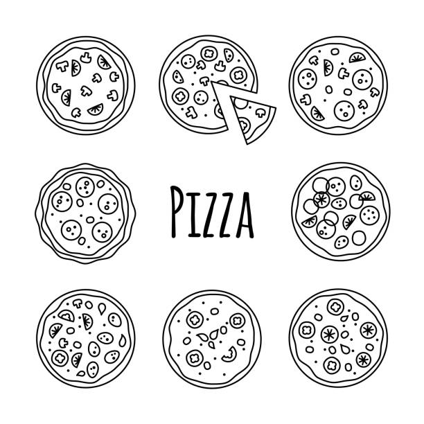 Line icons pizza set vector illustration on white vector art illustration