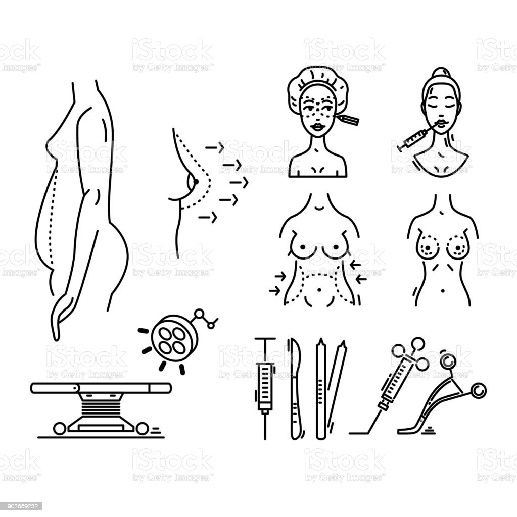 line icons plastic surgery aesthetic medicine cosmetic procedure Art Medicine Surgery line icons plastic surgery aesthetic medicine cosmetic procedure royalty free line icons