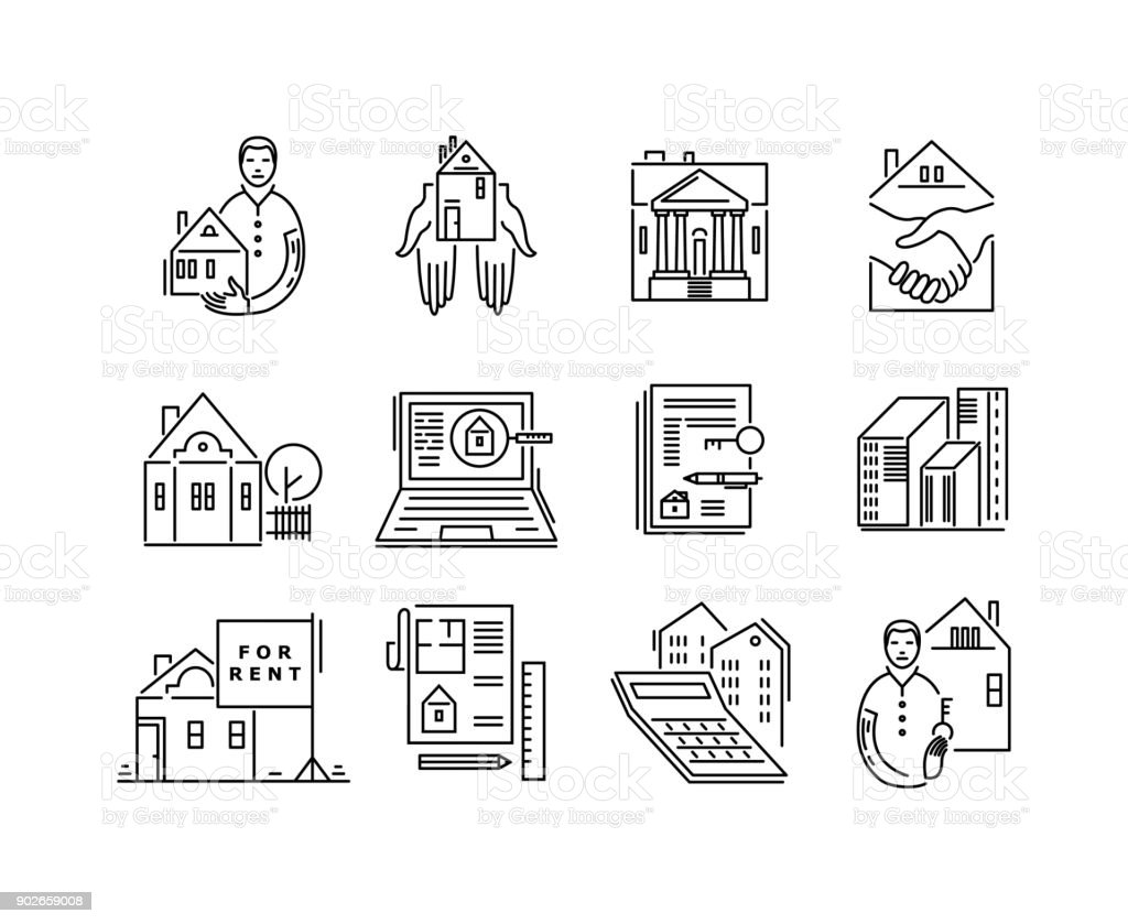 line icons real estate sale and rent signs stock vector art more