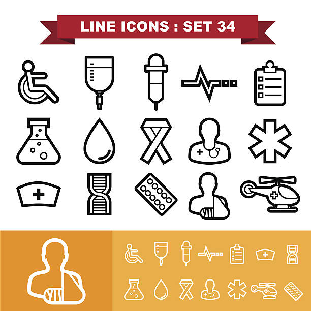stockillustraties, clipart, cartoons en iconen met line icons set 34 - naald chirurgisch instrument