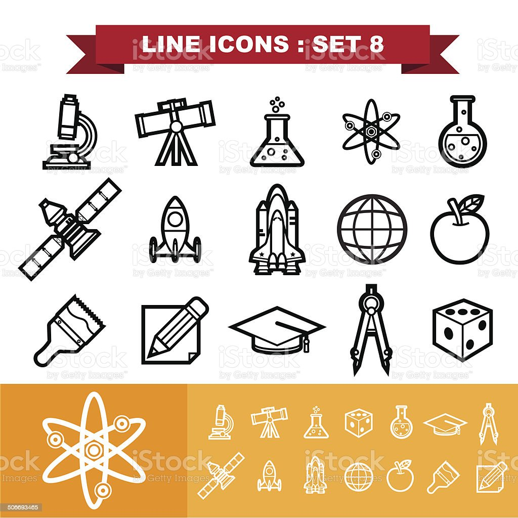 Line icons set 8 royalty-free stock vector art