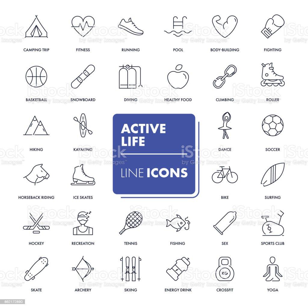 Line icons set. Active life vector art illustration