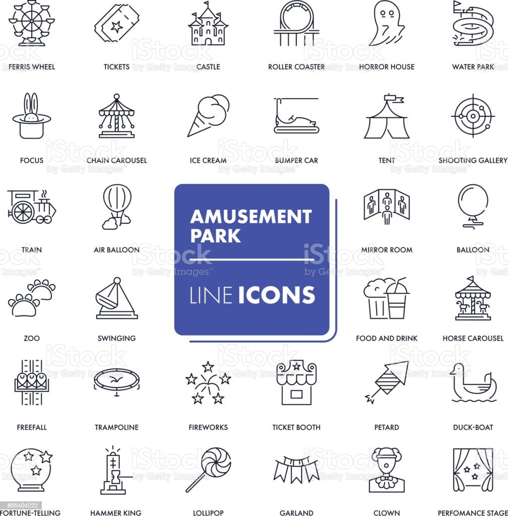 Line icons set. Amusement park vector art illustration
