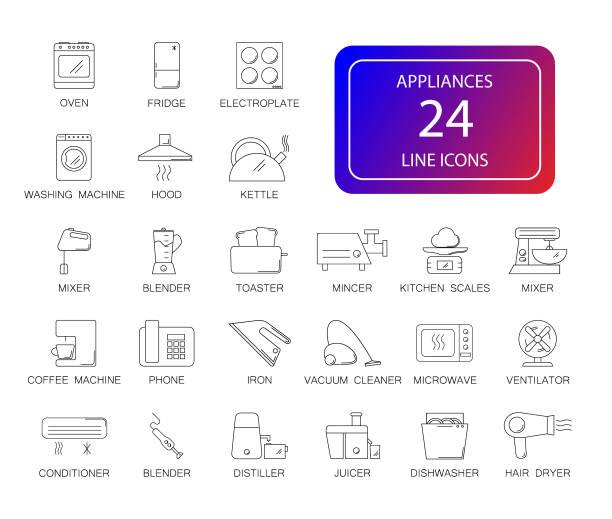 Line icons set. Appliances pack. vector art illustration