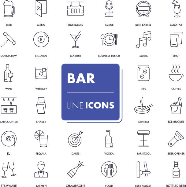 Line icons set. Bar vector art illustration