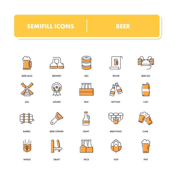 Zeile Icons Set. Bier – Vektorgrafik