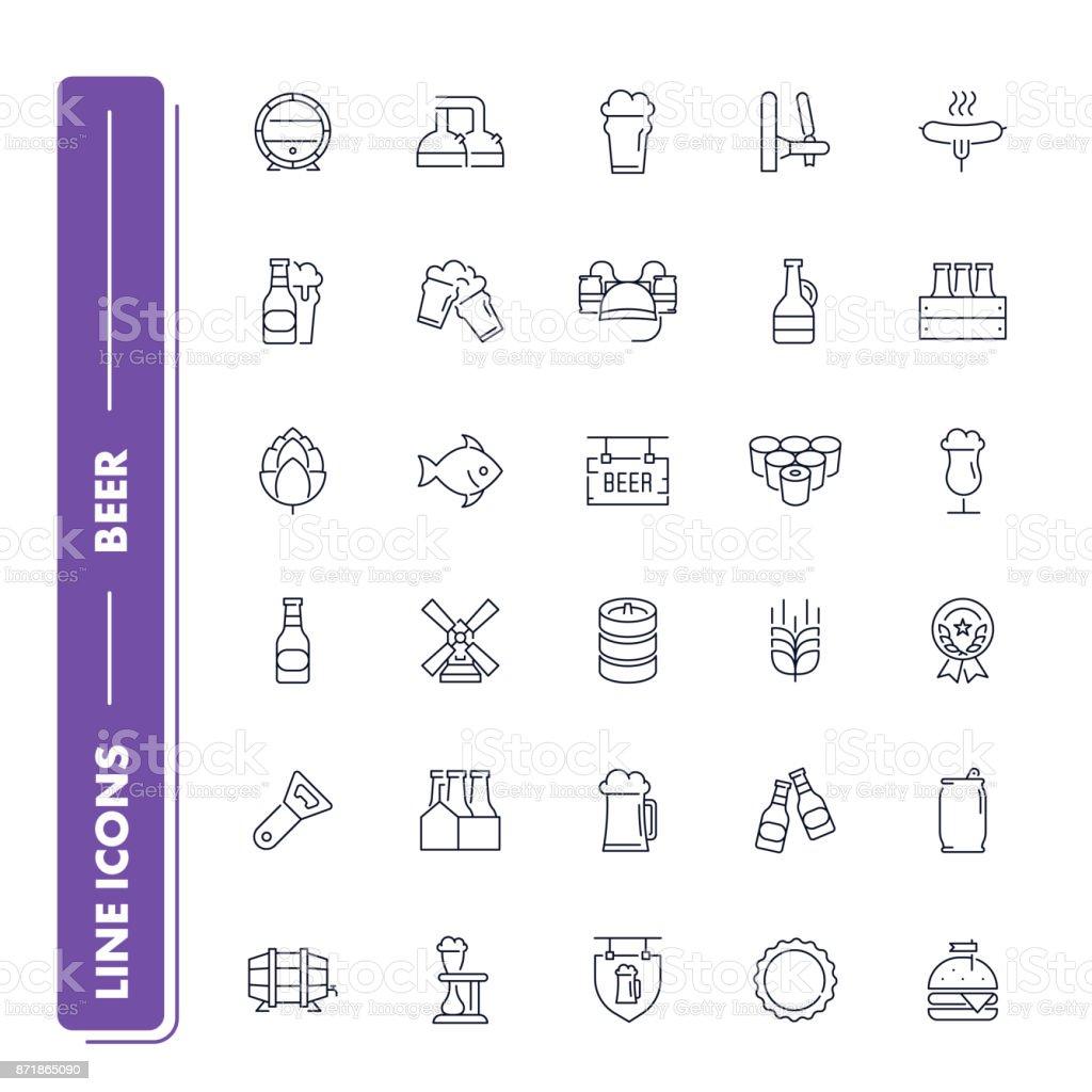 Line icons set. Beer vector art illustration