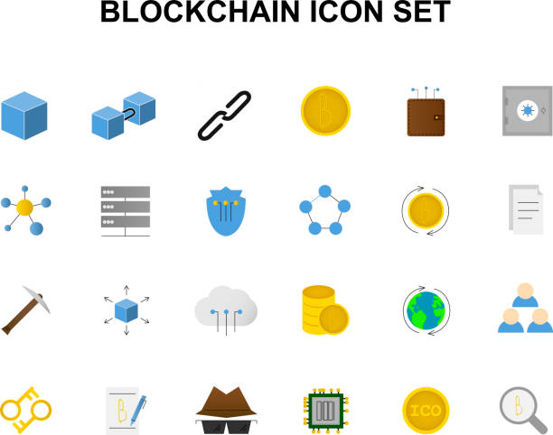 Line icons set. Blockchain pack. Vector illustration Line icons set. Blockchain pack. Vector illustration initial coin offering stock illustrations