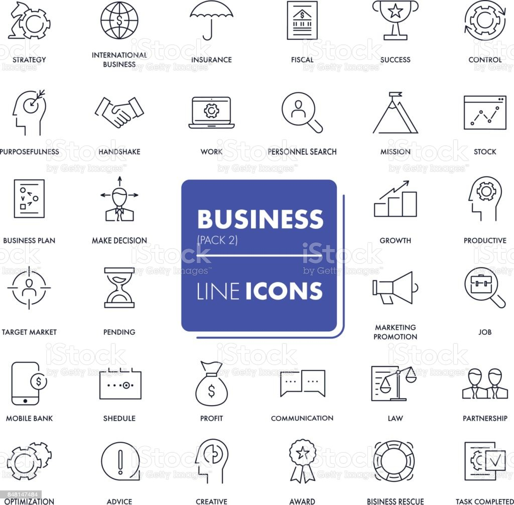 Line icons set. Business vector art illustration