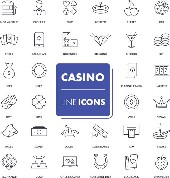 Line icons set. Casino Line icons set. Casino pack. Vector illustration. gambling stock illustrations