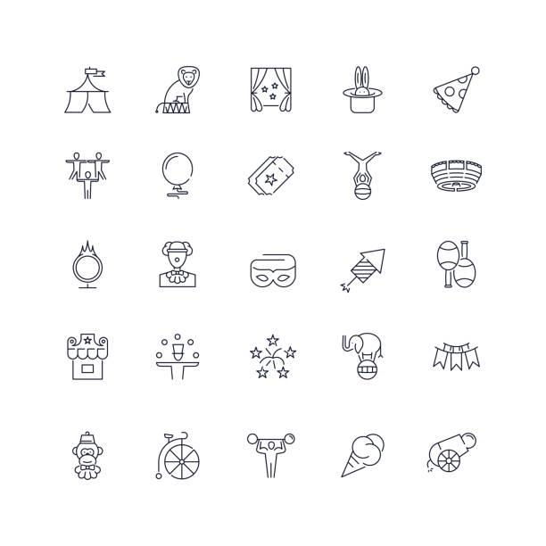line icons set. circus pack. - ice cream stock illustrations