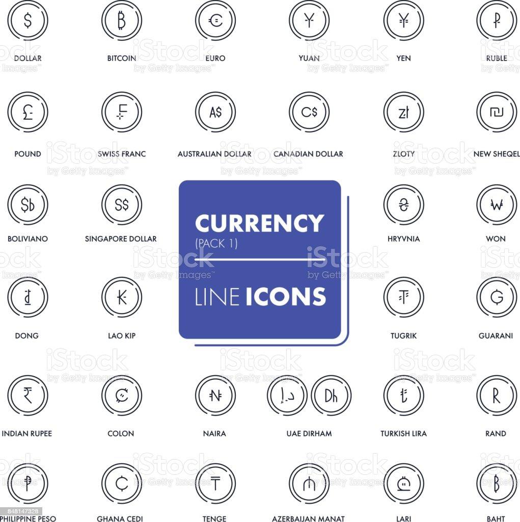Line icons set. Currency market vector art illustration