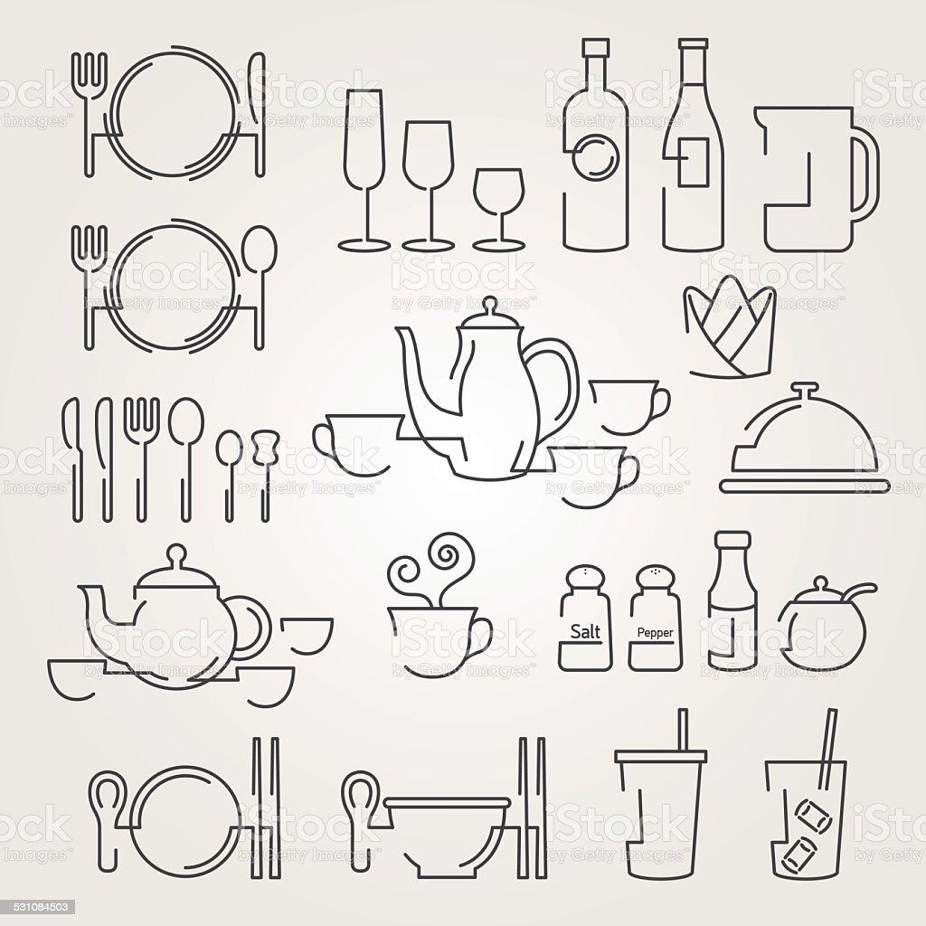 Line Icons Set : Dinner Restaurant and Eating vector art illustration