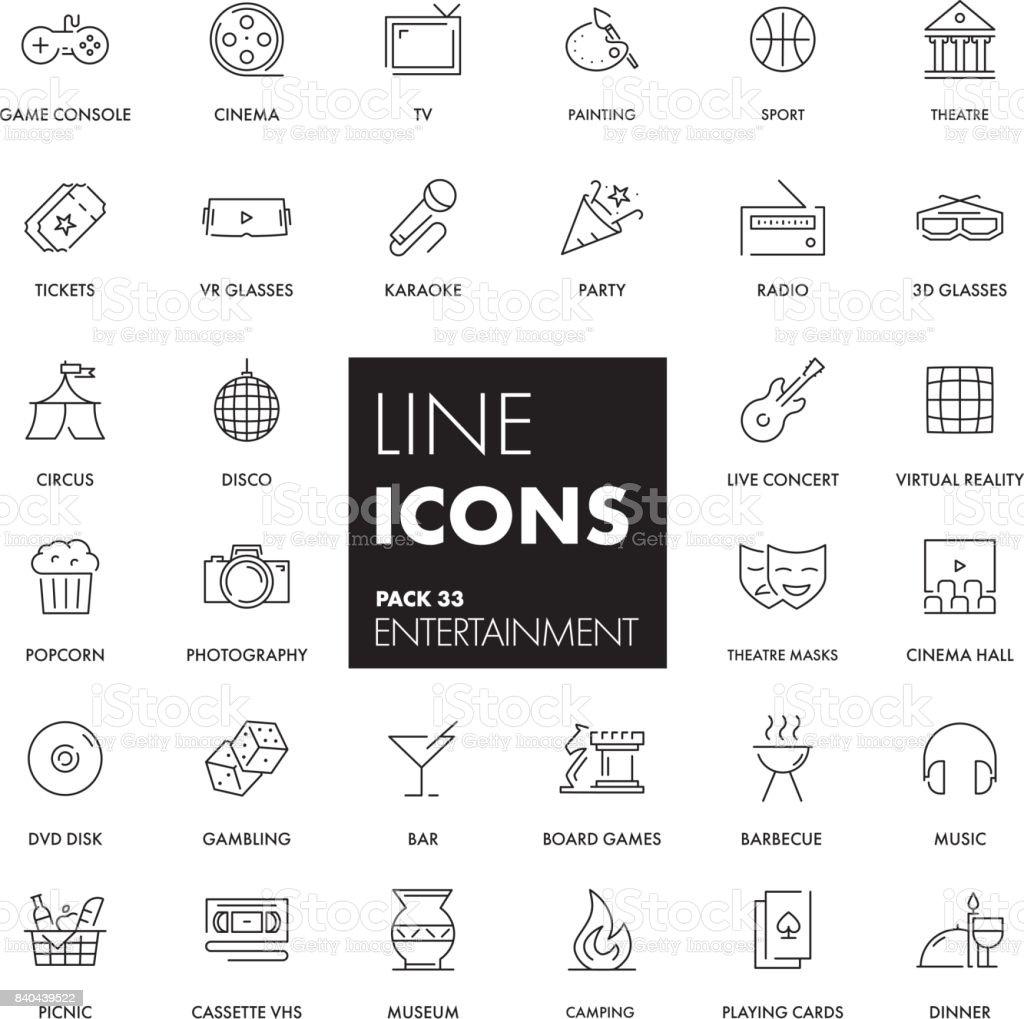 Line icons set. Entertainment vector art illustration