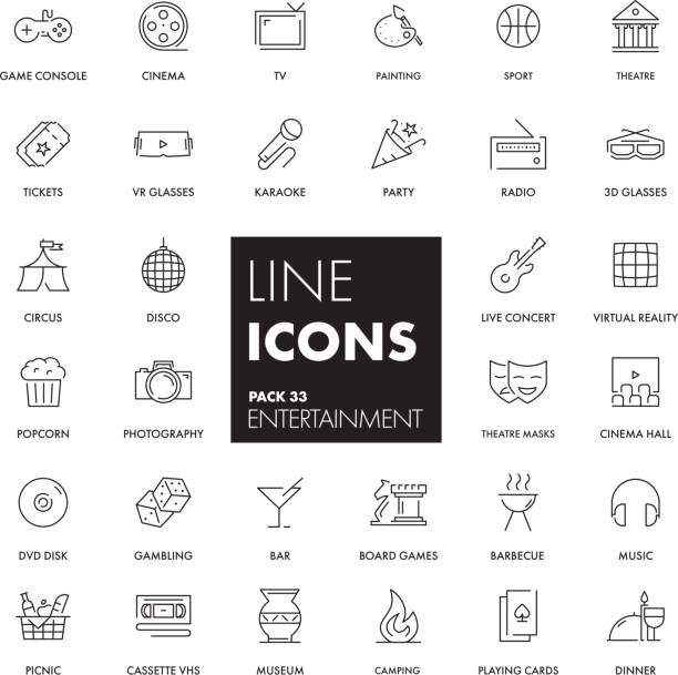 line icons set. entertainment - music and entertainment icons stock illustrations