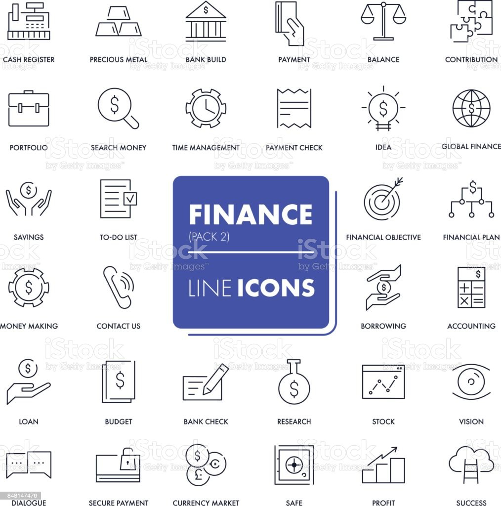 Line icons set. Finance vector art illustration