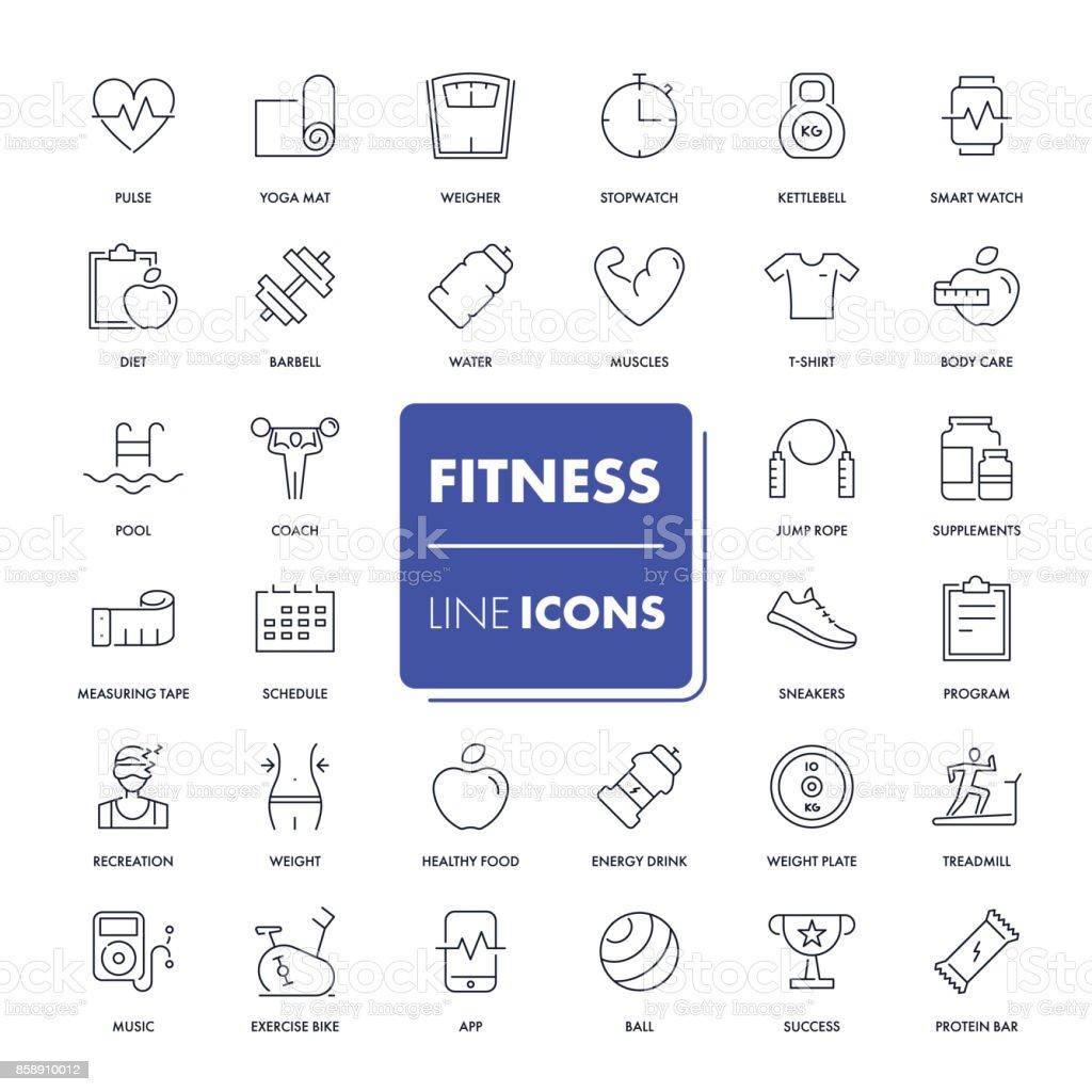 Line icons set. Fitness vector art illustration