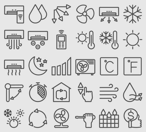 ilustrações, clipart, desenhos animados e ícones de linha ícones ajustados para o condicionador de ar - ar condicionado