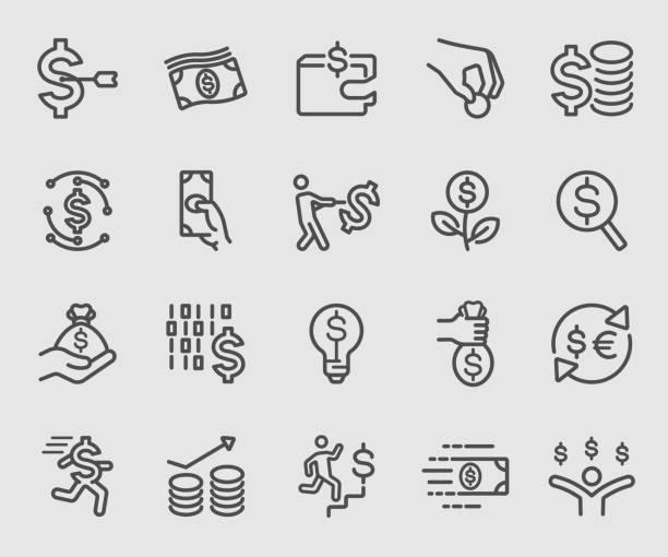 ビジネスお金のラインのアイコンを設定します。 - 金融と経済点のイラスト素材/クリップアート素材/マンガ素材/アイコン素材
