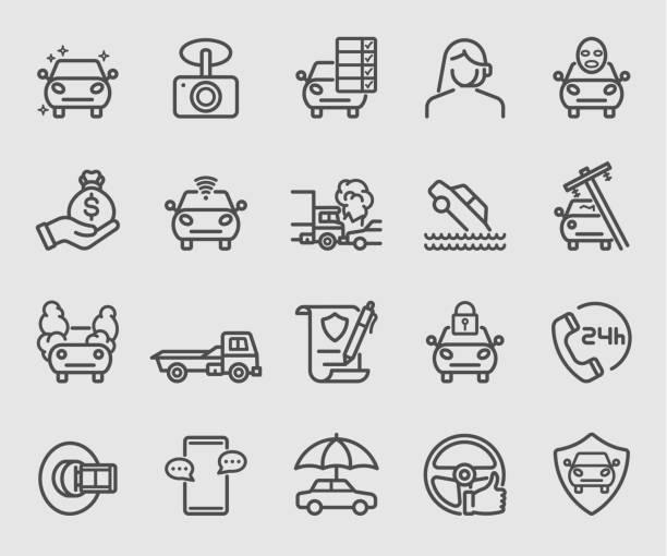 stockillustraties, clipart, cartoons en iconen met line icons set voor autoverzekering - ongeluk transportatie evenement
