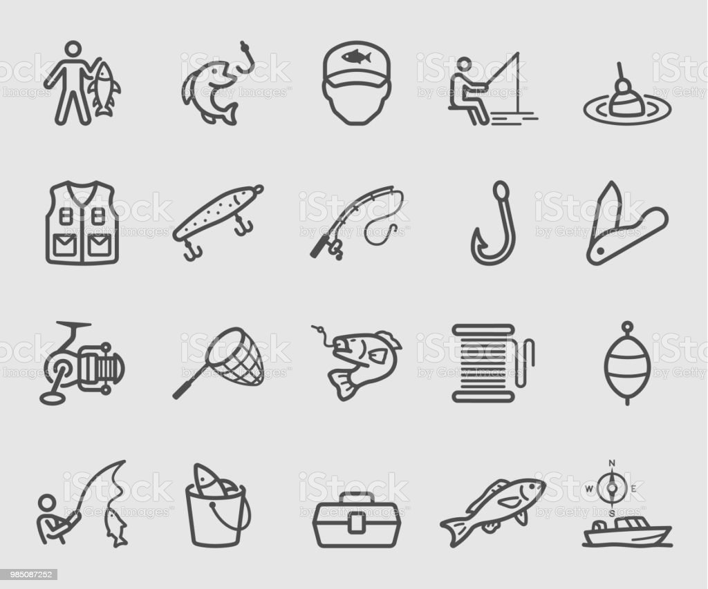 Zeile Symbole stellen zum Angeln – Vektorgrafik