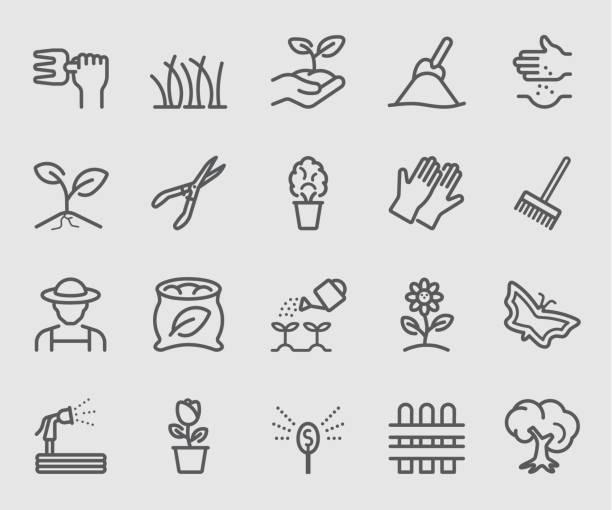 Line icons set for Garden Line icons set for Garden gardening stock illustrations