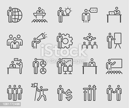 Line icons set for Leadership