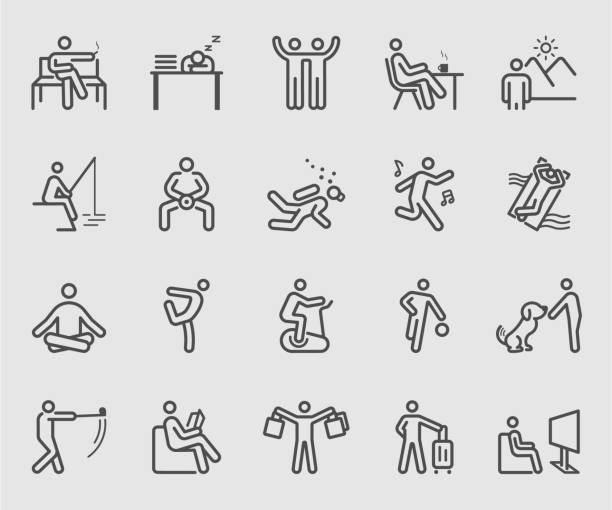 line icons set for people relaxation - siedzieć stock illustrations