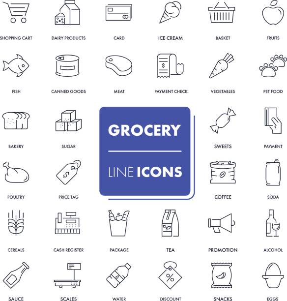 Line icons set. Grocery Line icons set. Grocery pack. Vector illustration. grocery store stock illustrations