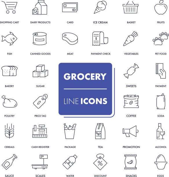 ilustraciones, imágenes clip art, dibujos animados e iconos de stock de conjunto de iconos de línea. tienda de comestibles - grocery store