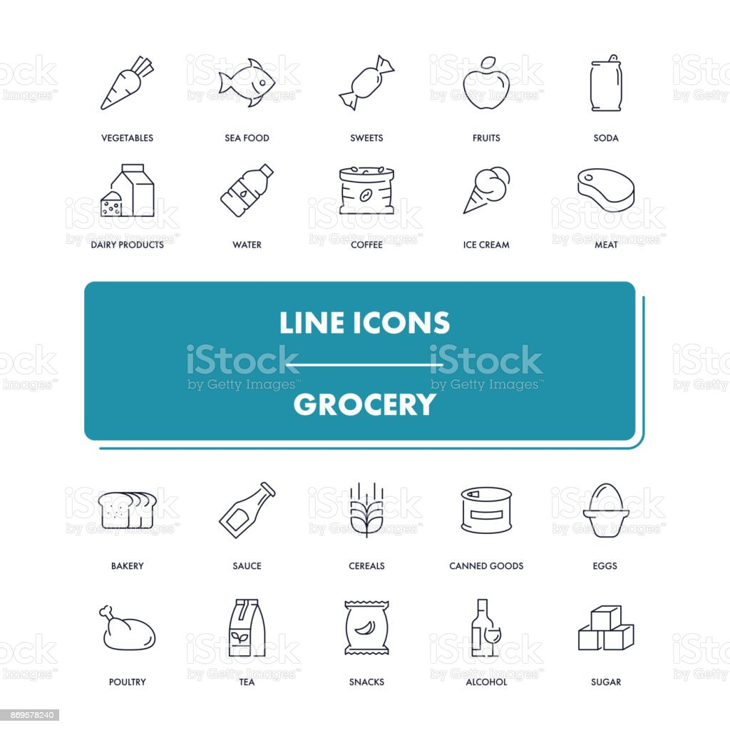 Line icons set. Grocery vector art illustration