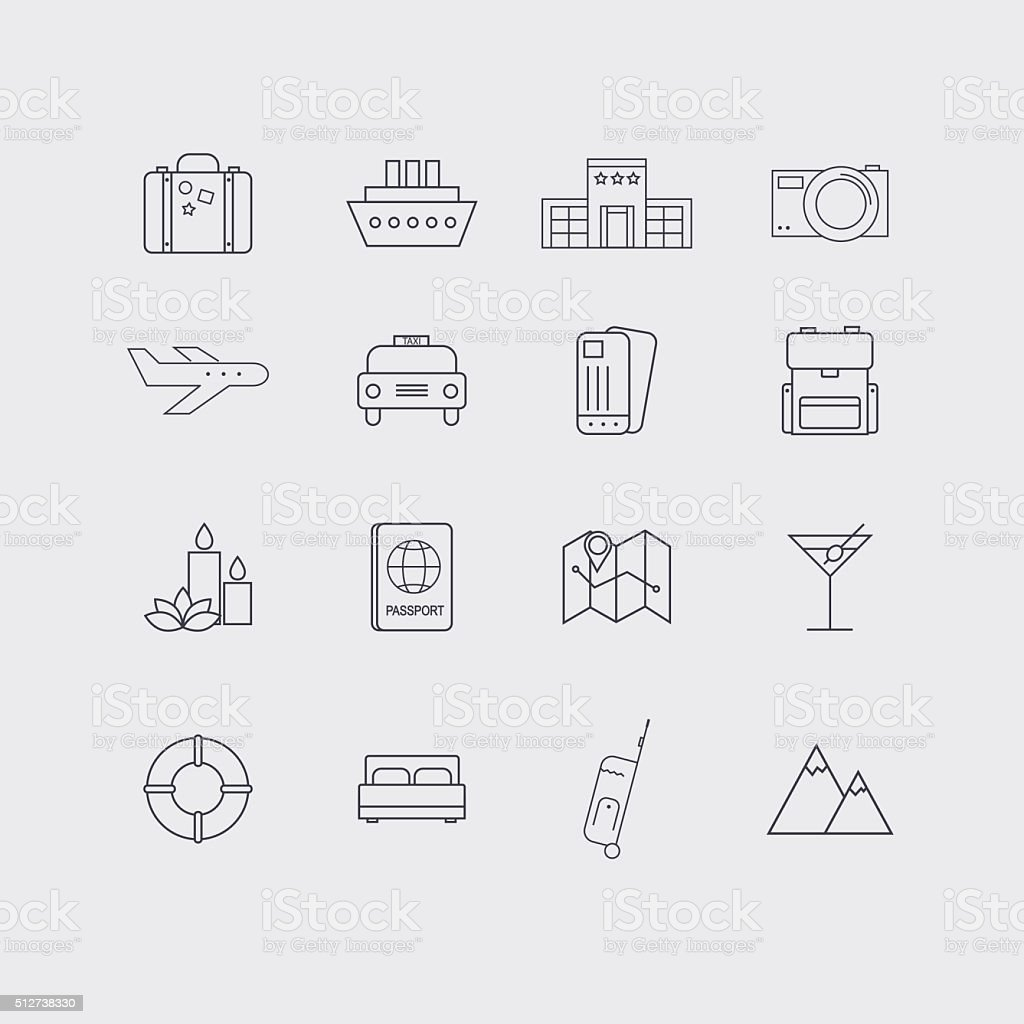 Line icons set in flat design. Elements of Vacation, vector art illustration