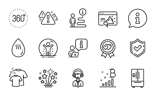 Line icons set. Included icon as Seo marketing, Fireworks stars, Hot water. Vector