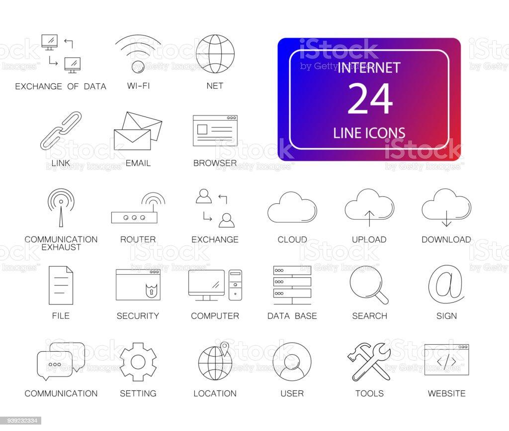 Line icons set. Internet pack vector art illustration