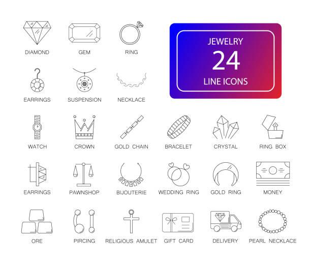 zeile icons set. schmuck-pack. - modeschmuck stock-grafiken, -clipart, -cartoons und -symbole