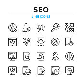 SEO line icons set. Modern outline elements, graphic design concepts. Stroke, linear style. Simple symbols collection. Vector line icons