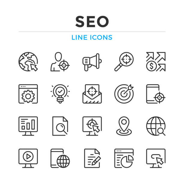 SEO line icons set. Modern outline elements, graphic design concepts. Stroke, linear style. Simple symbols collection. Vector line icons SEO line icons set. Modern outline elements, graphic design concepts. Stroke, linear style. Simple symbols collection. Vector line icons seo stock illustrations