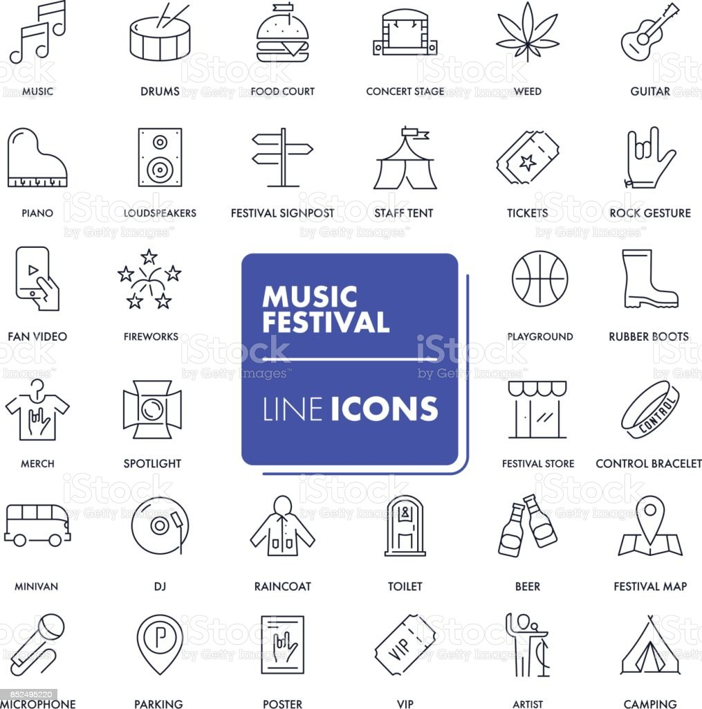 Line icons set. Music festival vector art illustration