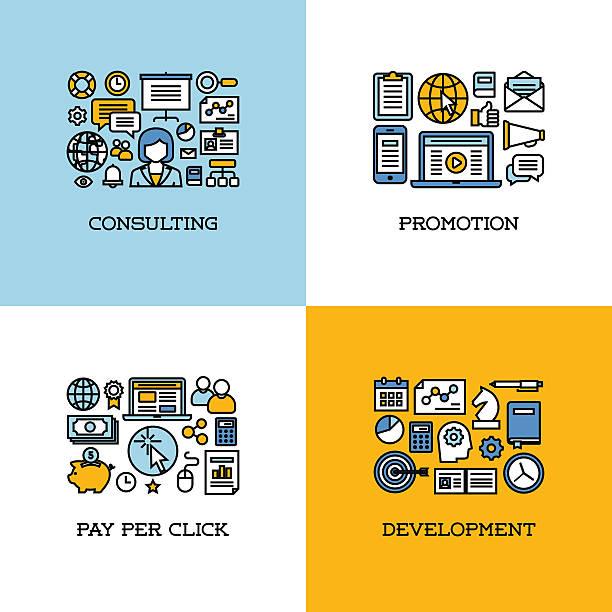 linie symbole satz von unternehmensberatung, promotion, zahlen sie pro klicken, entwicklung - arbeitsvermittlung stock-grafiken, -clipart, -cartoons und -symbole