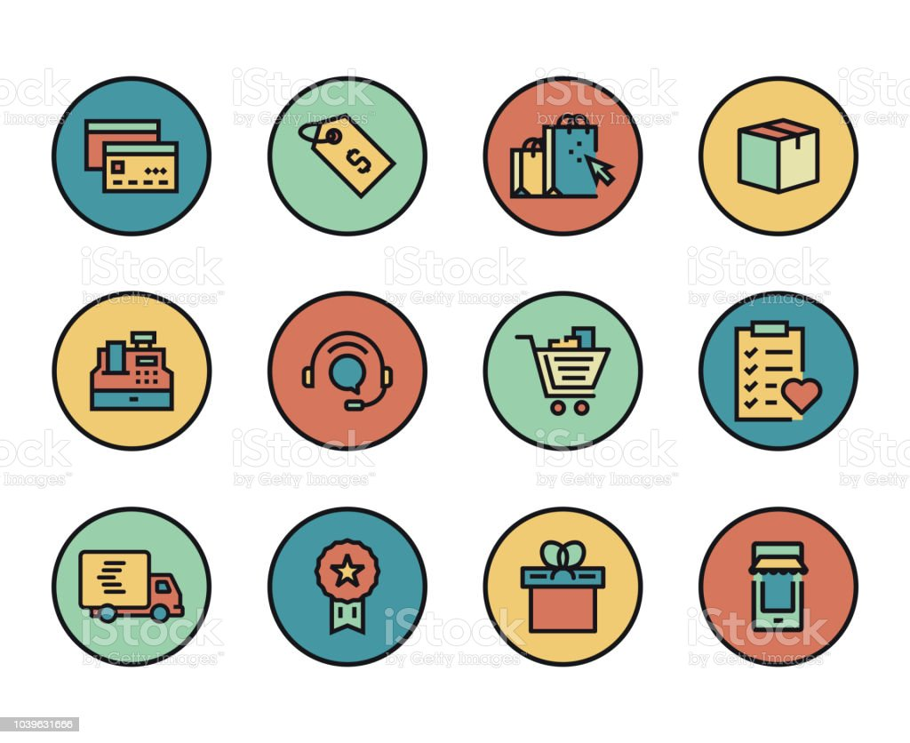 Line icons set of ecommerce modern color flat design linear line icons set of e commerce modern color flat design linear pictogram collection altavistaventures Images