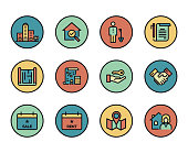 Line icons set of Real Estate. Modern color flat design linear pictogram collection. Outline vector concept of stroke symbol pack. Premium quality web graphics material.