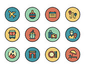 Line icons set of Tourism and Travel. Modern color flat design linear pictogram collection. Outline vector concept of stroke symbol pack. Premium quality web graphics material.