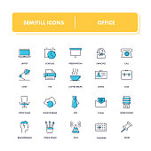 Line icons set. Office pack. Vector illustration for workplace