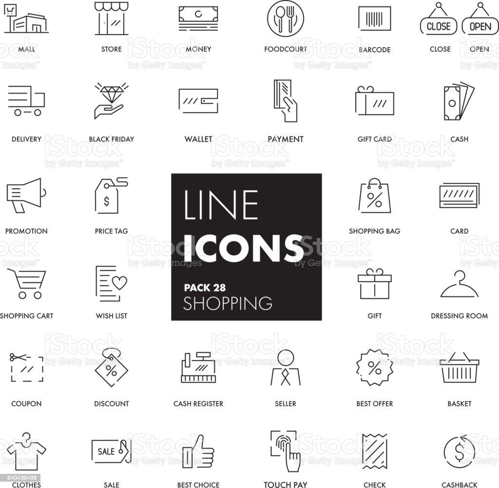 Line icons set. Shopping