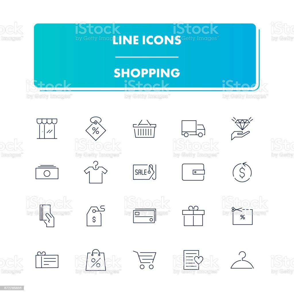 Zeile Icons Set. Einkaufen – Vektorgrafik